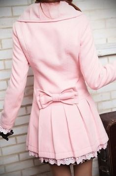 Light pink peacoat with bow and lace.
