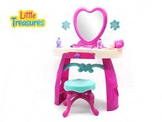 Dream Dresser from Little Treasures - Complete with Dresser, Mirror, Bench, Hair Styling Tools, perfume, lotion, and Accessories - 25 pieces pretend play set for children 3  *** Visit the image link more details.