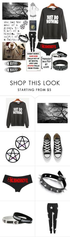 """Black long sleeve shirt"" by sirine-hmd ❤ liked on Polyvore featuring Marina Fini, Converse and WearAll"