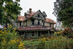 """Abandoned Roadside NC Home"" -- [4983 N Carolina 18 - Sparta, Alleghany County, North Carolina]~[Photograph by SCrocker (Stan Crocker) - October 5 2009 - Edwards Crossroads, Gap Civil Township, Alleghany County, North Carolina]'h4d-173.2013'"