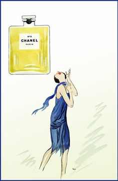 Chanel No 5 - c. 1920 - SEM aka Georges Goursat (French, 1863-1934) - The first Advertisement for Chanel no 5. George Goursat used a stylised silhouette of Coco Chanel herself in the flapper fashion of the 1920's