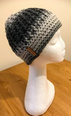 Marbled Grey Adult Size Beanie, Warm Winter Messy Ladies and Men's Cap, Acrylic Wool Handmade Crochet Hat Mens Crochet Beanie, Crochet Baby Hats, Grey Beanie, Beanie Hats, Christmas Presents, Holiday Gifts, Acrylic Wool, Chunky Yarn, Scarves