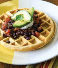 Cornmeal Waffles with Black Beans