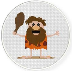 FREE for Jan 17th 2016 Only - Cave Man Cross Stitch Pattern