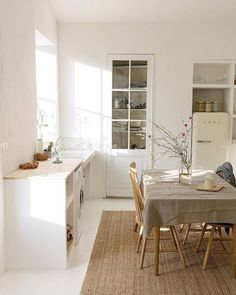 white-washed minimalist kitchen in france with white smeg fridge. / sfgirlbybay white-washed minimalist kitchen in france with white smeg fridge. / sfgirlbybay white-washed minimalist kitchen in france with white smeg fridge. Kitchen Room, Kitchen Remodel, Interior Design Kitchen, Minimalist Decor, Home Decor, Country Kitchen, Home Kitchens, Kitchen Style, Kitchen Design