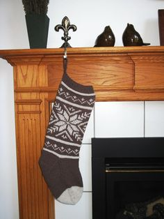 Knit Brown And Taupe Christmas Stocking