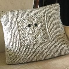 This sweet owl needs friends – he's very cuddly and likes to sit on your sofa! Superchunky/superbulky yarn makes for an up-to-date and superquick knit.The pattern is easy/intermediate, as you will need to know how to cast/bind on and off, knit, purl, and simple cabling. (Even if it's your first time cabling, you will be able to, it's that easy!) This is an envelope cushion cover to enable easy insertion of the cushion on the reverse side. There is an optional button band on th...