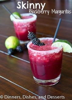 Skinny Blackberry Margaritas½ cup water ¼ cup sugar/splenda/stevia 6 oz fresh black berries ½ cup tequila ⅓ cup fresh orange juice ⅓ cup fresh lime juice In a small sauce pan heat water until boiling. Stir in the sugar until fully dissolved. Remove from heat, and let cool. In a blender combine the simple syrup, tequila, black berries, lime juice and orange juice. Blend until smooth. Pour through a fine mesh strainer. Let sit in the fridge until ready to serve.