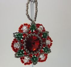 Bead and crystal snowflake / christmas star by LescreationsAlepine Christmas Star, Christmas Ornaments, Crystal Snowflakes, Bead Weaving, Beads, Crystals, Holiday Decor, Unique Jewelry, Handmade Gifts
