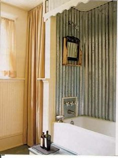 tin shower surround... Soooo cute!!