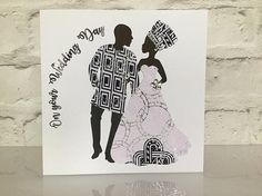 Wedding day card African wedding card African fabric cards