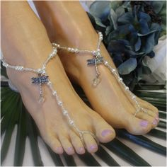 e2841557d4cf9 DRAGONFLY beaded barefoot sandals