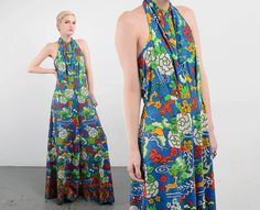 fc0e54170a63 OOAK Vintage Inspired 70s Jumpsuit Scenic Floral Graphic Novelty Print  Halter Top Draped Palazzo Pants Boho