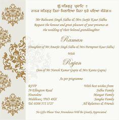 Sikh Wedding Card Wording Marriage Invitation Wordings Parekh