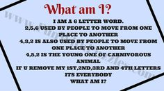 English Word Riddle to find What am I? Riddles Logic, Mind Riddles, Funny Riddles, Riddles With Answers, Hard Puzzles, Logic Puzzles, Word Brain Teasers, 6 Letter Words
