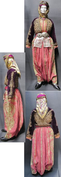 Traditional festive costume from the central district of the Balıkesir province. Dating: 1925-1950. The trousers and long-sleeved vest in striped silk, and the velvet jacket are embroidered ('golden' thread in 'kordon tutturma' technique/applied cord). (Kavak Folklor Ekibi&Costume Collection-Antwerpen/Belgium).
