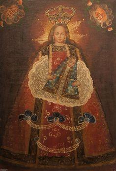 Cuzco Religious Oil Painting Peruvian Folk Art Divine Madonna and Child