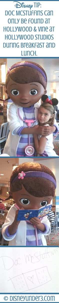 Disney World Character Dining Doc McStuffins can only be found at Hollywood & Vine at Hollywood Studios during breakfast and lunch. Disney World Magic Kingdom, Disney World Parks, Disney World Vacation, Disney Vacations, Disney Secrets, Disney Tips, Disney Magic, Disney 2015, Disney Love