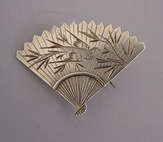 Japanese Victorian Fan Brooch from collection of Morning Glory Antiques & Jewelry, Albuquerque, NM