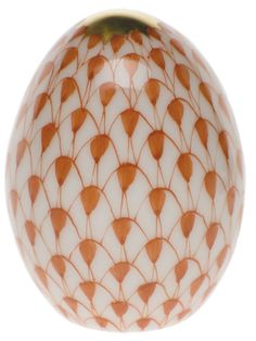 """Herend Hand Painted Porcelain Figurine """"Miniature Egg"""" Rust Fishnet Gold Accents."""
