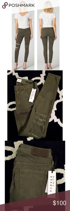 """PARKER SMITH Olive Green Distressed Skinny Jeans Parker Smith 'Kam' Skinny Jeans in 'Off Duty Destroy'. Mid-Rise, Skinny Fit Style, Washed in a Rich Olive Hue, Distressed & Ripped at Kneees, Ankle Cut. Five Pocket Styling, Single Button Closure and Zip Fly. Stretch Twill: 51% Cotton, 38% Lyocel, 8% Rayon, 3% Spandex. Size 25/Waist 25"""", Rise 9"""", Inseam 29"""". NWT. Parker Smith Jeans Skinny"""