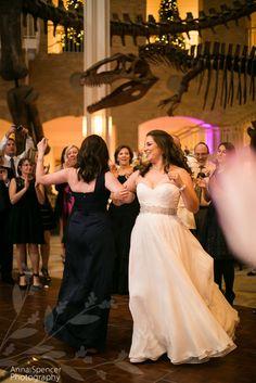 Anna and Spencer Photography, Atlanta Wedding Photographers. Wedding Reception at Fernbank Museum of Natural History. Dinosaur wedding .
