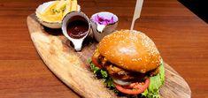 Încearcă un burger wow, produs semnat de Chef Mitea ! Hamburger, Restaurant, Ethnic Recipes, Food, Salads, Diner Restaurant, Essen, Burgers, Meals