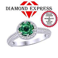"1/2 Ct Genuine Moissanite & Diamond 14K Gold Halo Engagement Ring ""Mother\'s Day Gift"". Starting at $43"