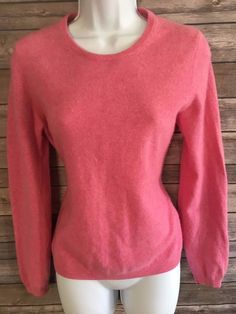 LOCHMERE Women's Cashmere Sweater Size Small Pink Long Sleeve Winter #Lochmere #Crewneck #ebay