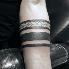 Tribal Male Black Band Forearm Tattoos