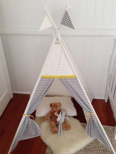 White and Grey Chevron tepee play tent. Poles by NestNFeather Tent Poles, Grey Chevron, Kids Rooms, Nest, Toddler Bed, Feather, Play, Rugs, Home Decor