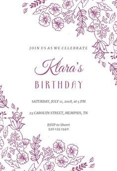 Elegant Flowers - Birthday Invitation