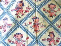 Vintage 1930's 40's  Feed Sack Fabric  Novelty LITTLE by anne8865, $49.99