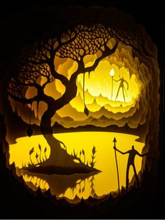 """rtists Harikrishnan Panicker and Deepti Nair, better known as Hari & Deepti have released a new collection of their backlit paper sculptures entitled """"Oh, the Places You Will Go! Kirigami, Shadow Box Kunst, Shadow Box Art, Paper Light, Light Art, 3d Paper Art, Paper Crafts, Paper Cutting, Cut Paper"""