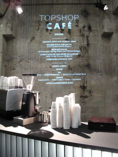 menu projected on wall.