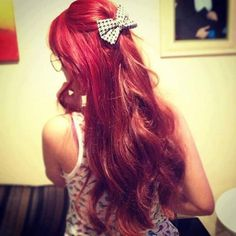 red hair with bow  I so wish I could pull off red hair
