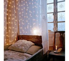 Cool Creative Christmas Holiday Lighting Ideas For Canopy Bed home trends design photos, home design picture at Home Design and Home Interior Dream Bedroom, Home Bedroom, Bedroom Decor, Bedroom Ideas, Winter Bedroom, Bedroom Lighting, Pretty Bedroom, Bedroom Apartment, Bed Ideas