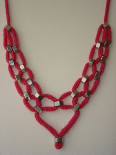 Pink Wool Hex Nut Statement Necklace. $25.50, via Etsy.