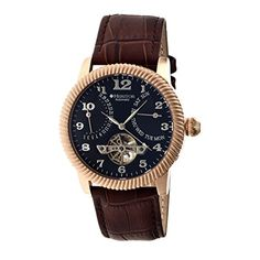 Heritor Automatic Mens Piccard Jeweled Chinese Movement 316L SurgicalQuality Stainless Steel CaseSapphireCoated Mineral Crystal and Leather Watch ColorBrown Model HERHR2006 ** You can find out more details at the link of the image.