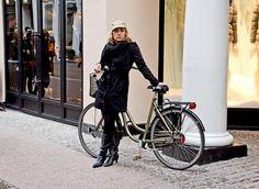 Great windy fashion and a bike.