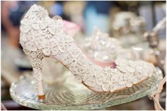 Sparkly vintage inspired wedding shoes