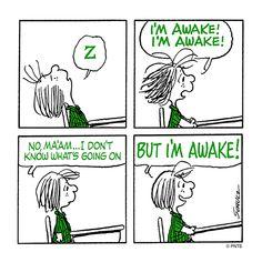 'I'm AWAKE!', Poor Peppermint Patty at School.
