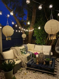 Outside Living, Outdoor Living, Outdoor Decor, Outdoor Tree Lighting, Garden Table, Patio Table, Porch Decorating, Interior Decorating, Festoon Lights
