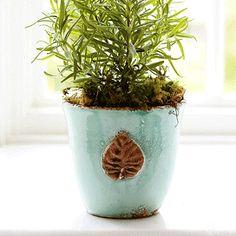 Vietri Aqua Small Cachepot with Leaf