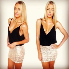 black cami sequin skirt/ sexy outfit
