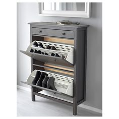 shoe storage entryway HEMNES Shoe cabinet with 2 compartments - dark gray gray stained - IKEA Shoe Cabinet, Shoe Storage Cabinet, Cabinet, Shoe Cabinet Design, Hemnes, Rack Design, Hemnes Shoe Cabinet, Ikea Shoe Cabinet, Shoe Cabinet Entryway