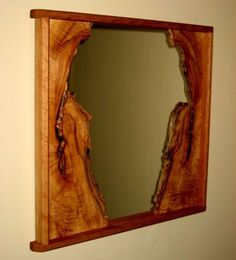 Wood that has natural edge left uncut has become more and more popular in home d. Wood that has na Unique Mirrors, Rustic Mirrors, Wood Mirror, Wood Wall Art, Live Edge Furniture, Log Furniture, Into The Woods, Barn Wood, Rustic Wood