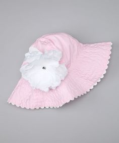 Take a look at this Pink & White Peony Sunhat - Infant by Posh Petals on #zulily today!