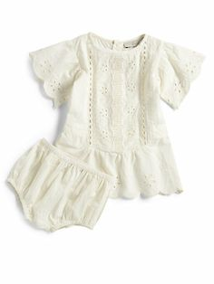 white eyelet dress and bloomers set. Precious!