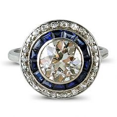 Edwardian Diamond and Sapphire Target Cluster
